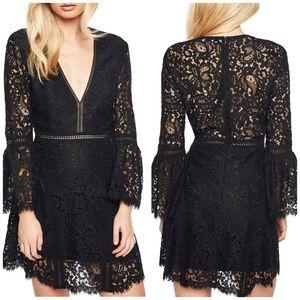 NWT Bardot Black Lace Bell Sleeve Mini Dress